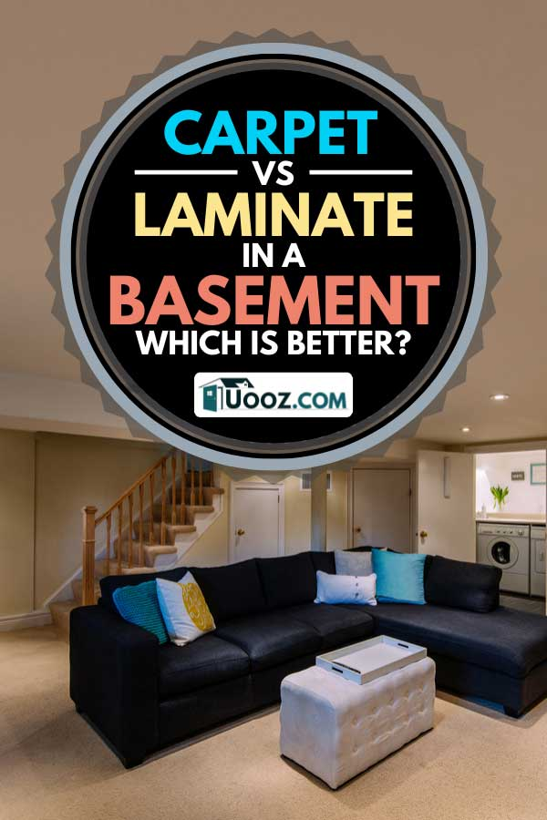 Modern renovated basement with carpet floor, Carpet vs Laminate in a Basement: Which is Better?