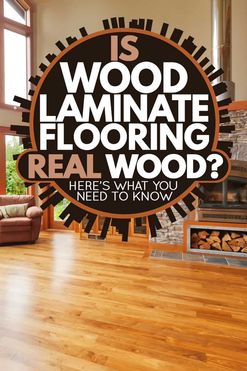 A modern luxury house with laminated woo flooring with laminated wooden flooring decorative stone covered fireplace mantel and incorporated with a small ottoman laminated wooden lm, Is Wood Laminate Flooring Real Wood? Here's what you need to know