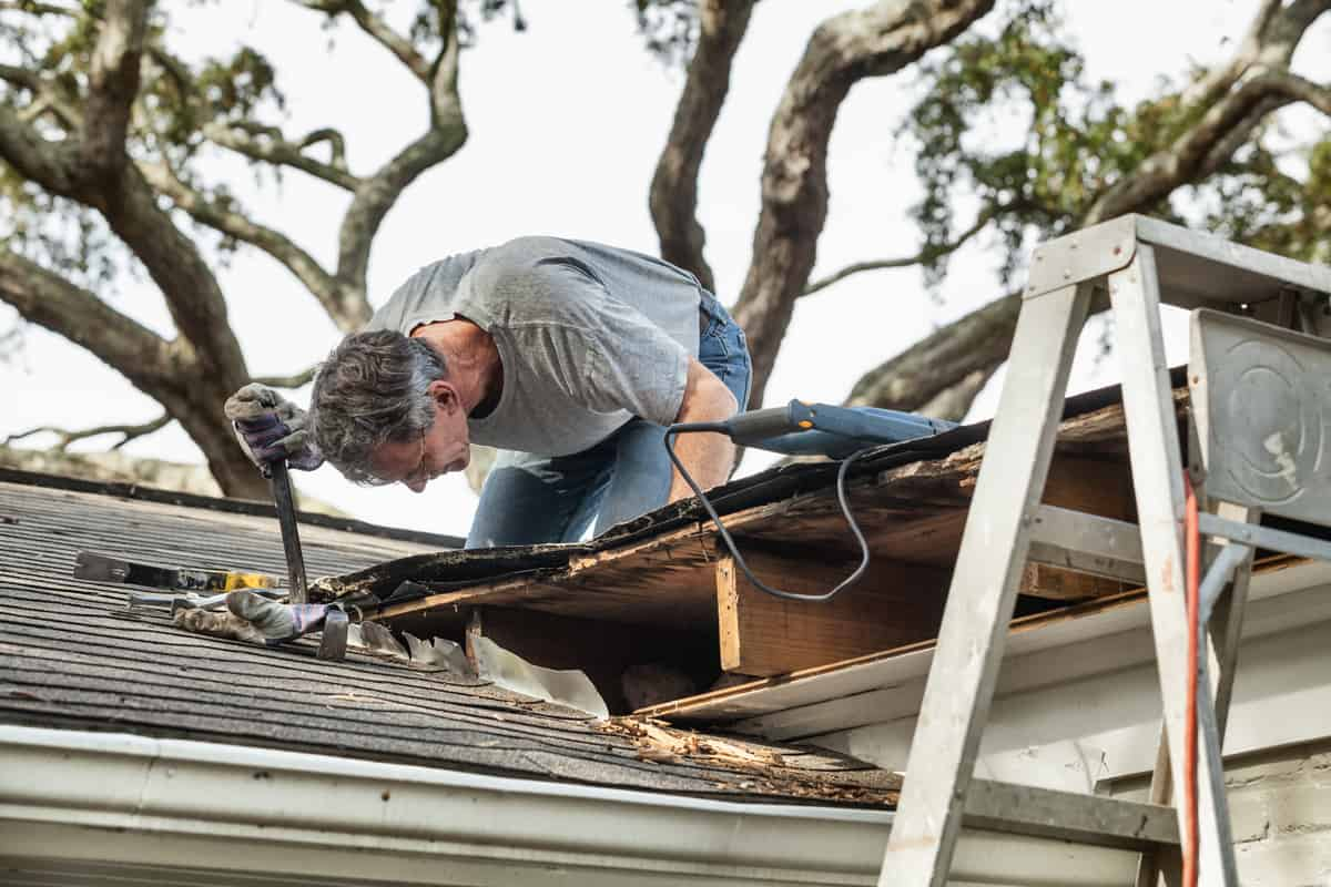 A roofer repairing the damaged roof of his clients house
