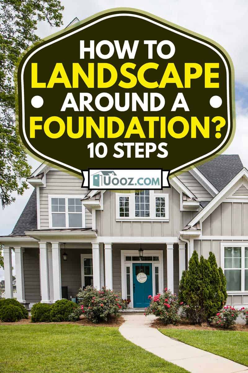 landscape around foundation of new construction cottage style house with hardy board and a partial metal roof, How to Landscape Around A Foundation? [10 Steps]