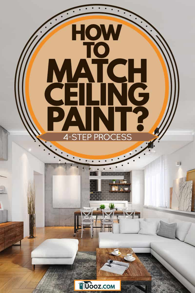 A modern house with a rustic themed blended with white colored furnitures and white walls, How to Match Ceiling Paint? [4-step process]