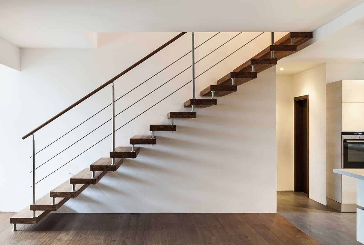 Open riser stairs in a loft interior