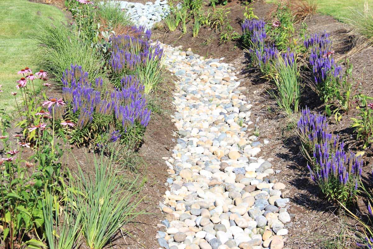 A horizontal image of a dry drainage ditch that is landscaped into a garden to appeal to the eye and will drain in the rainy season
