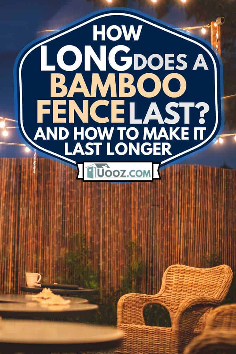 Outdoor patio setup in the gravel backyard garden with bamboo fence, How Long Does a Bamboo Fence Last? [and How to Make It Last Longer]