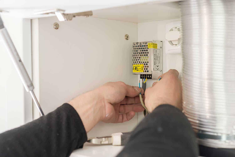 Installing transformer for LED strip on kitchen furniture