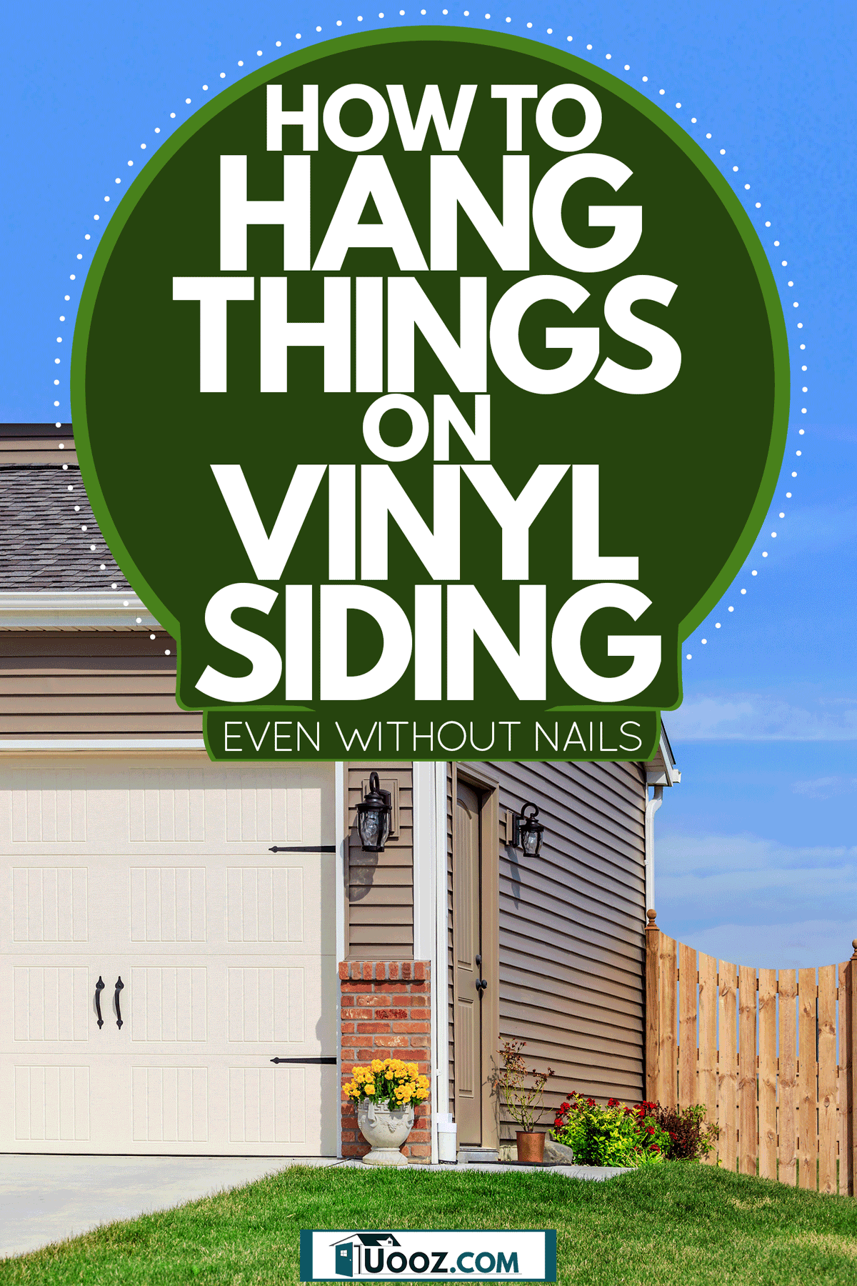 A garage of a house with brown vinyl sidings and flat glass lawn, How To Hang Things On Vinyl Siding (Even Without Nails)