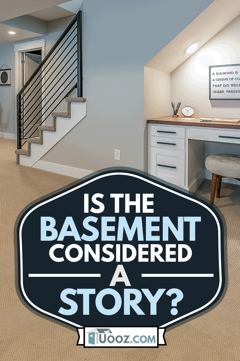 Basement rec room with home office desk underneath the stairs, Is The Basement Considered A Story?