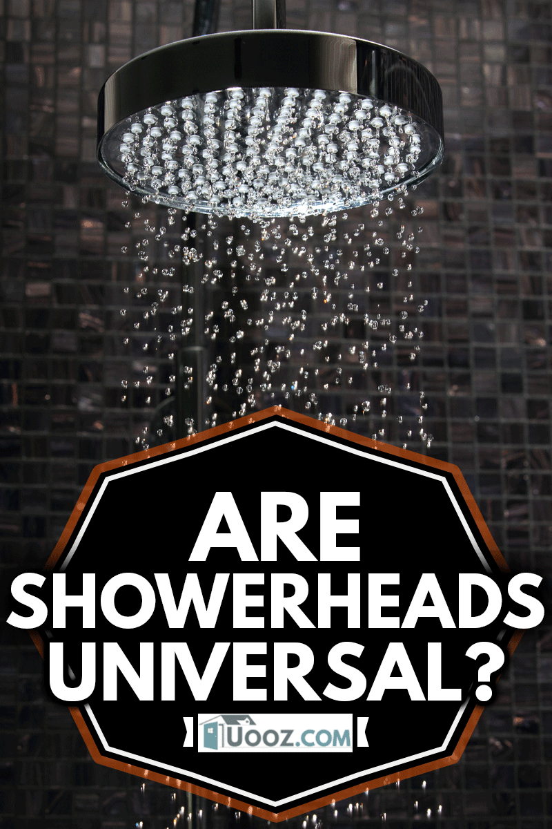 luxury shower in domestic bathroom with falling water against Italian glass mosaics with luxurious showerhead, Are Showerheads Universal?