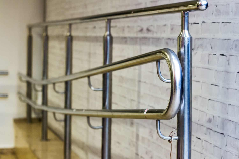Metal handrailing on a public stairway