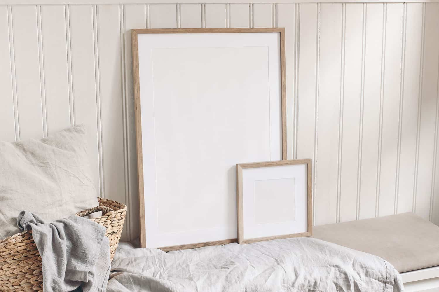 Mock up picture frames placed on the side of a plastic paneling