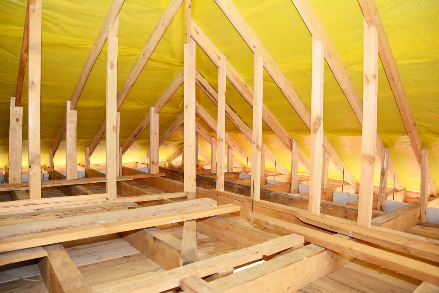 Roofing Construction Interior. Wooden Roof Beams, Wooden Frame, Rafters, Trusses, House Attic Construction Interior