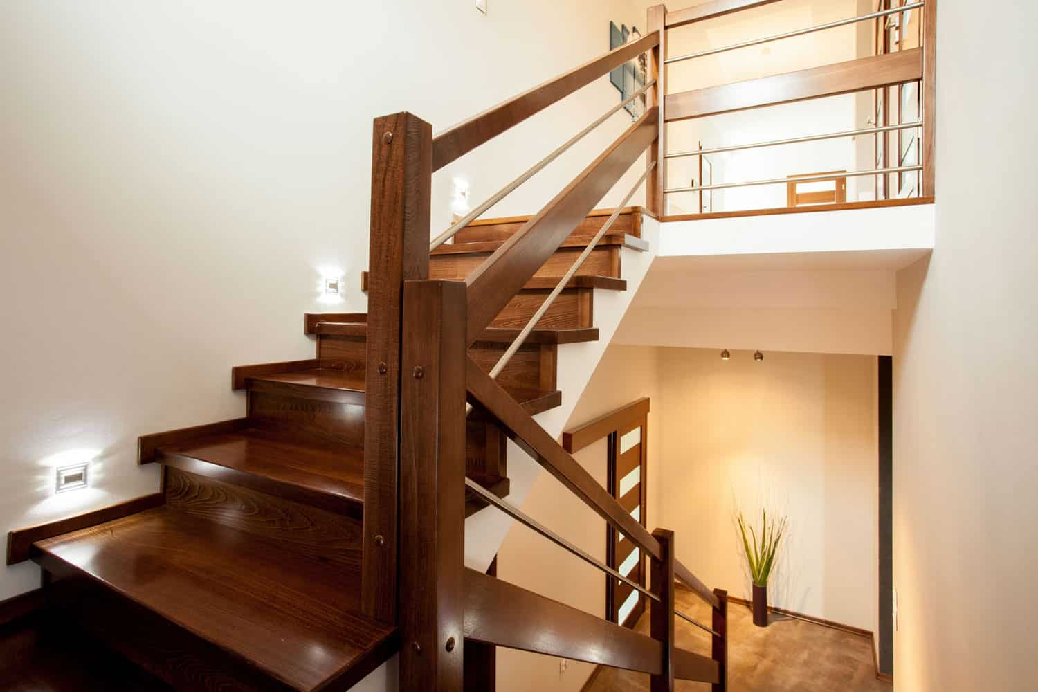 Wooden staircase with wooden handrails