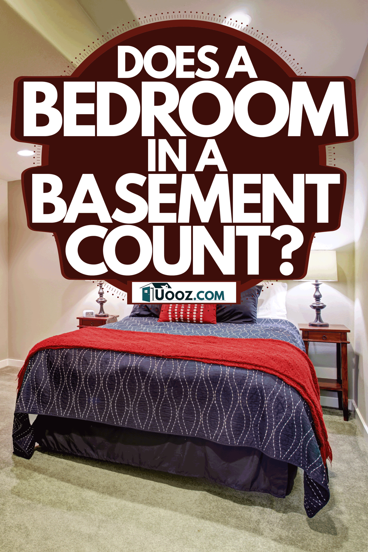 A guest basement bedroom with cream painted walls, carpeted flooring, and two end tables with lamps, Does a Bedroom in a Basement Count?