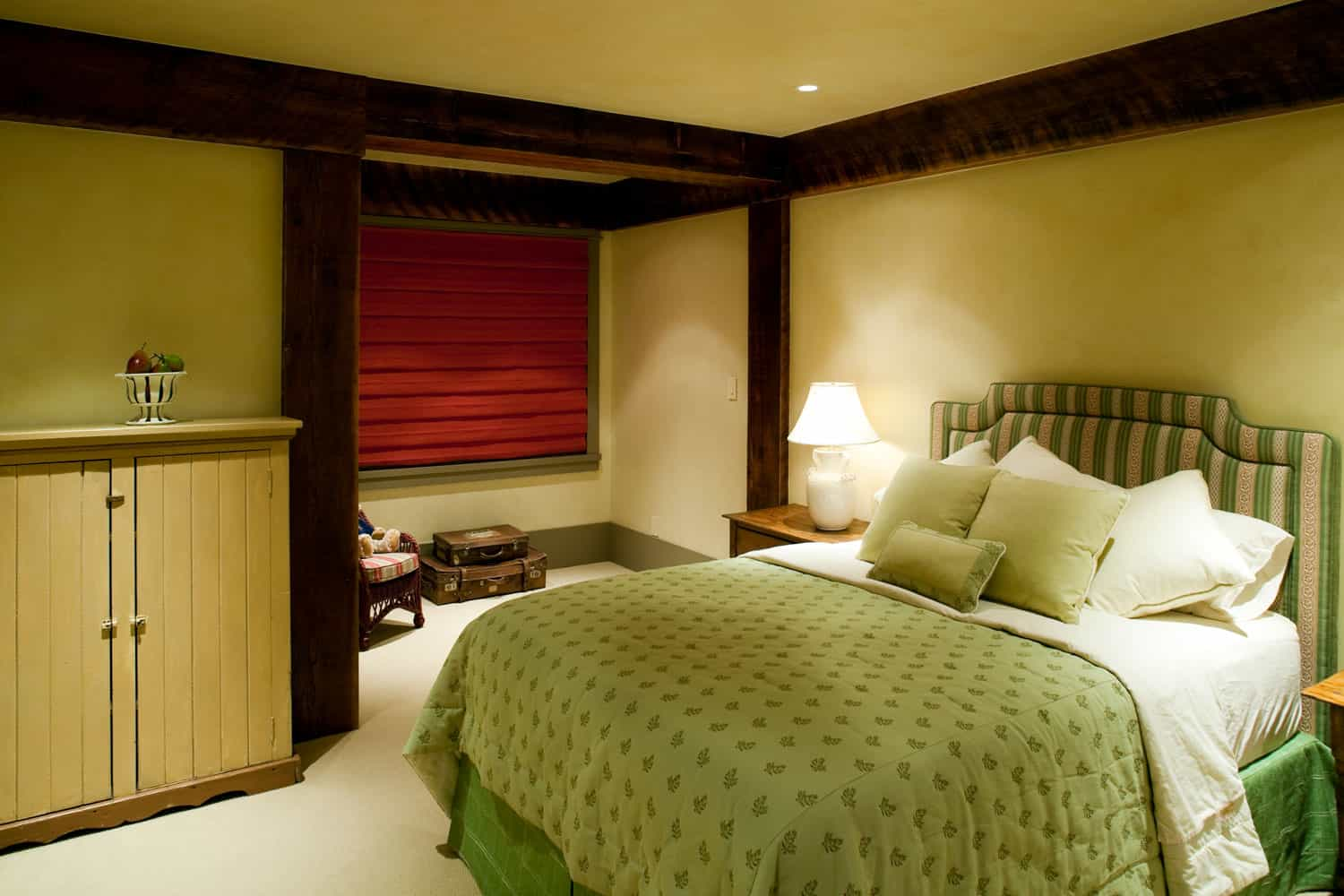 Rustic inspired basement bedroom with light mint green beddings and walls