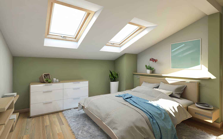Green bedroom on the attic