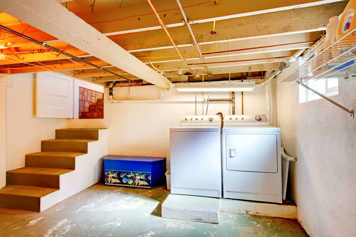 Basement laundry room with old appliances