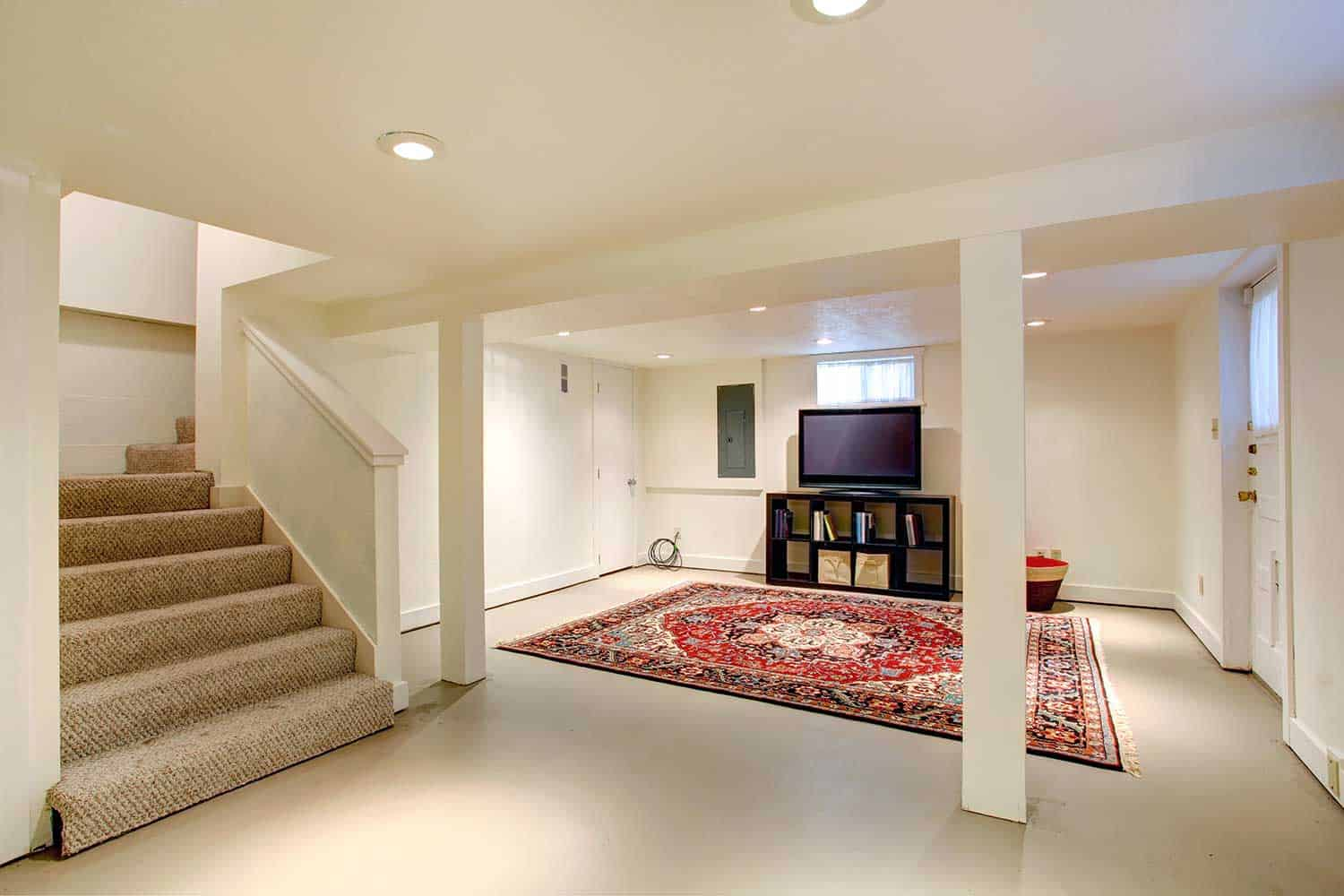 House basement room interior with TV
