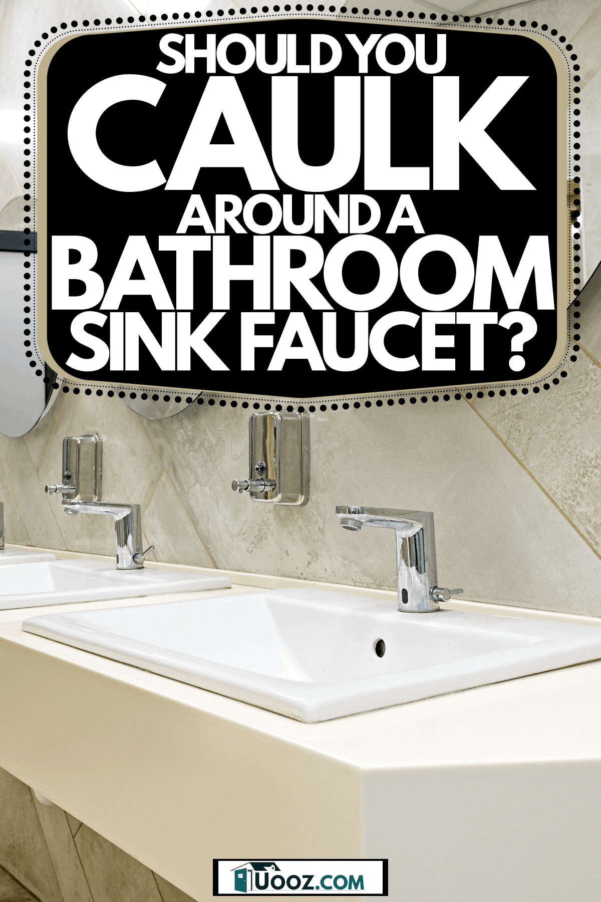 Interior of a stunning contemporary designed bathroom with a white vanity sink, three large round mirrors, and a door with frost, Should You Caulk Around A Bathroom Sink Faucet?