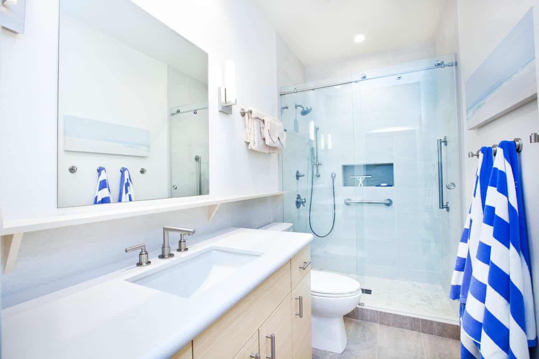Interior of a narrow bathroom with a contemporary design