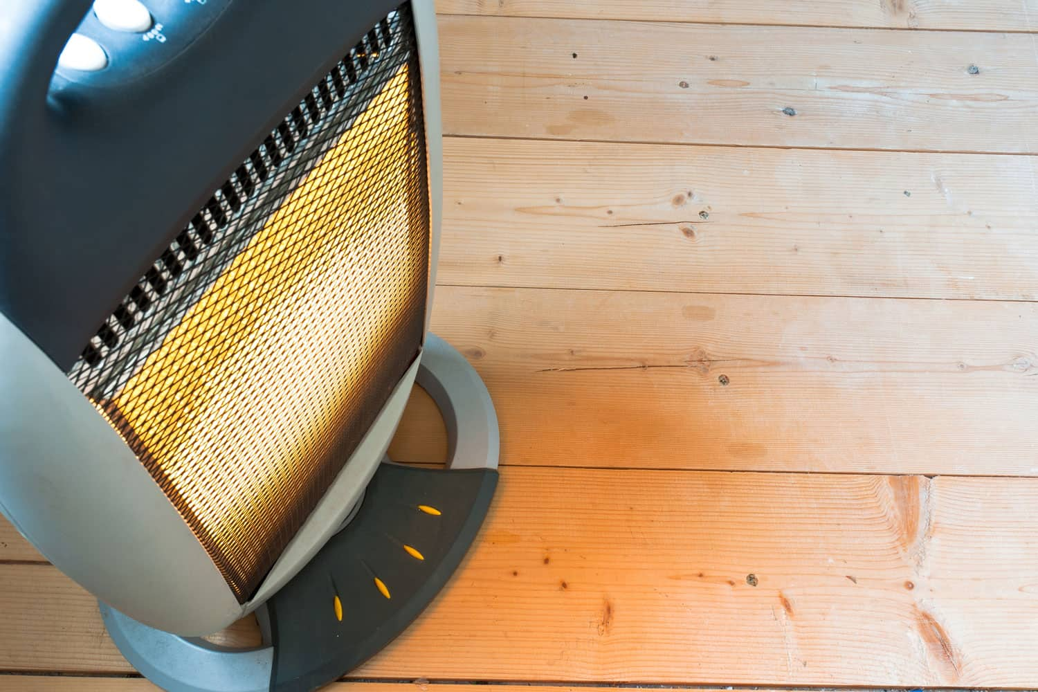 A space heater inside a laundry room