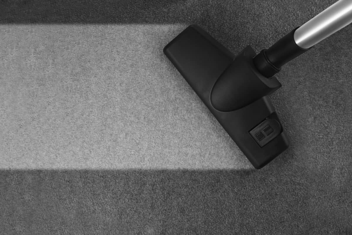 A steam cleaner going over a gray colored carpet