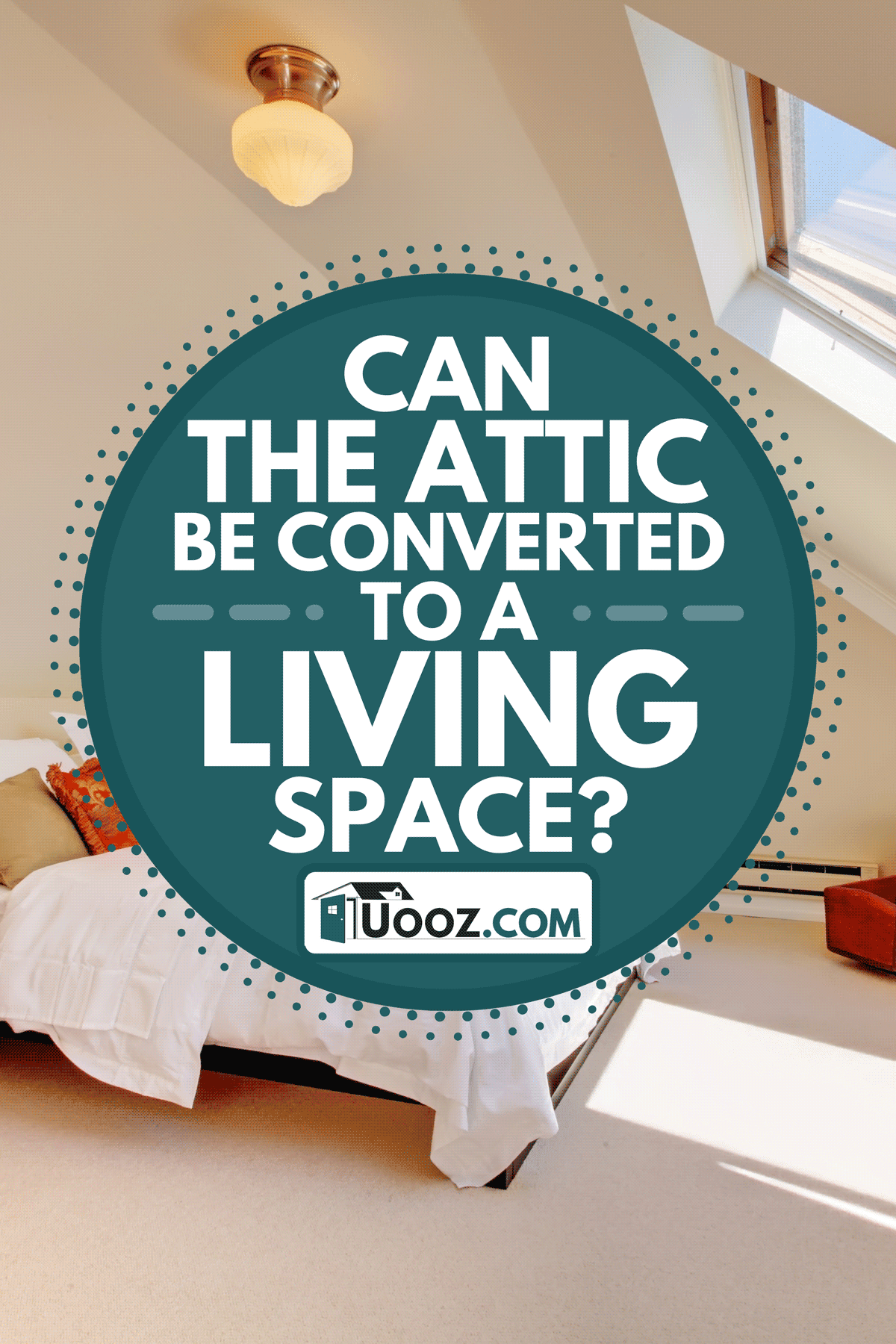 An attic bedroom with white bed and skylight, Can The Attic Be Converted To A Living Space? [And How To Go About That]