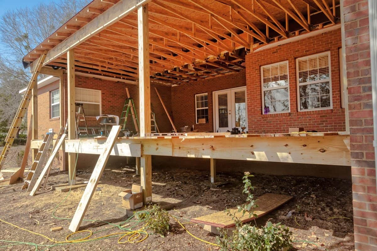 Construction of new porch at residential house, How Long Does It Take To Build A Porch?