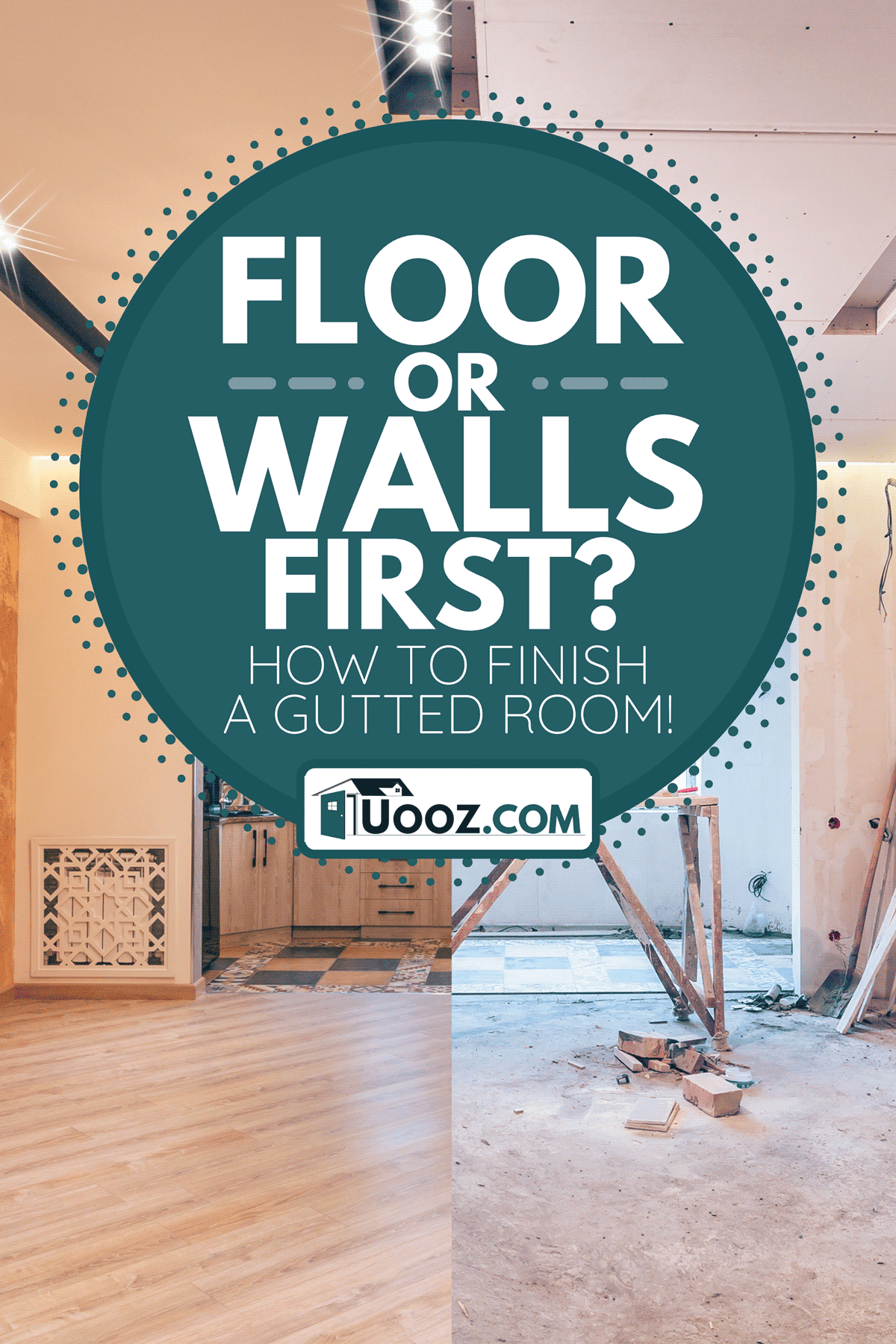 A modern interior design of big living-kitchen studio room, Floor Or Walls First? How To Finish A Gutted Room!