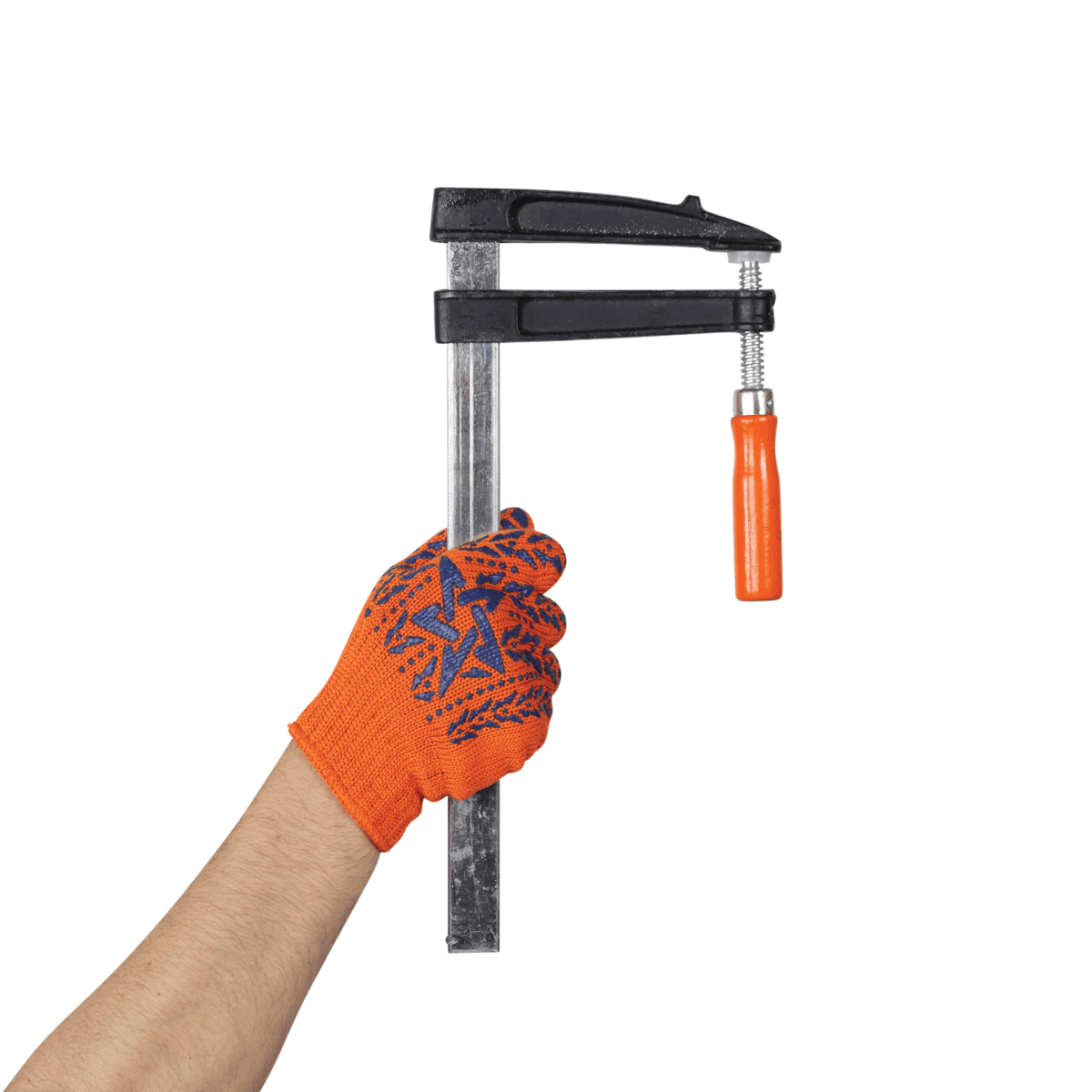 Hand in working glove holds F-clamp speed clamp isolated white background