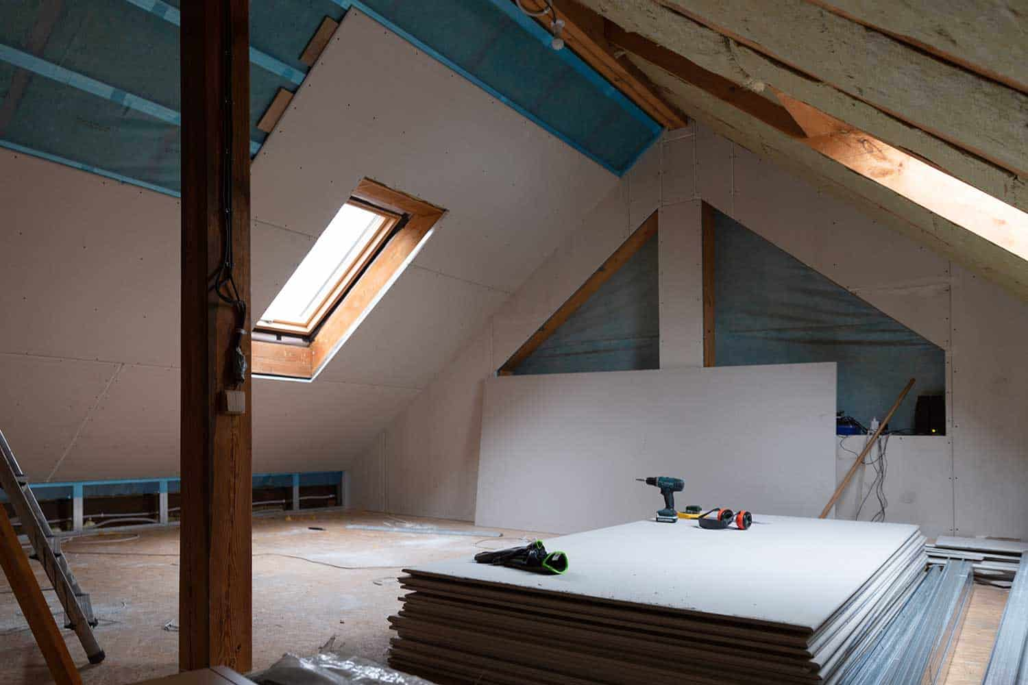 House attic insulation and renovation