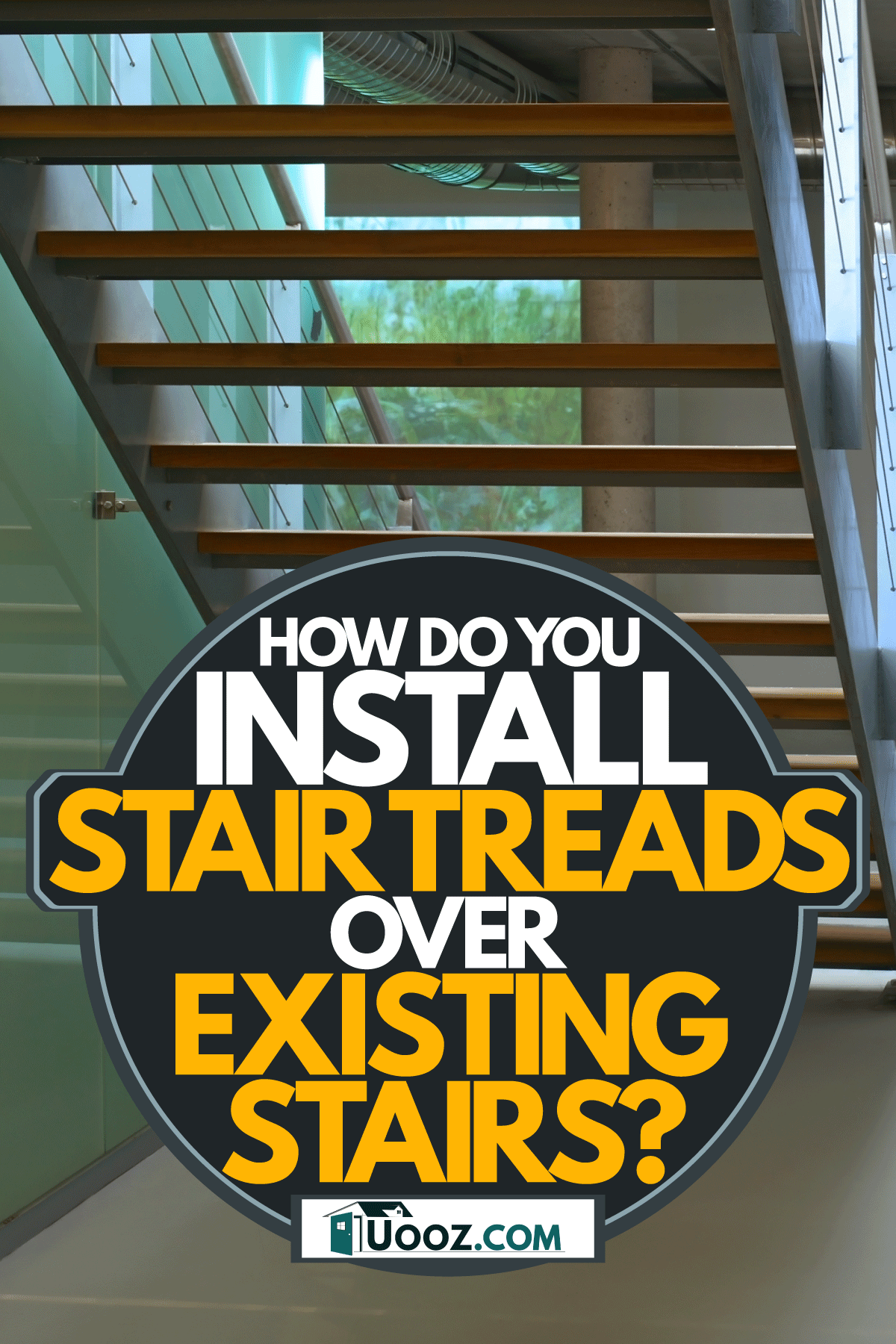 A modern staircase inside a contemporary living room, How Do You Install Stair Treads Over Existing Stairs?