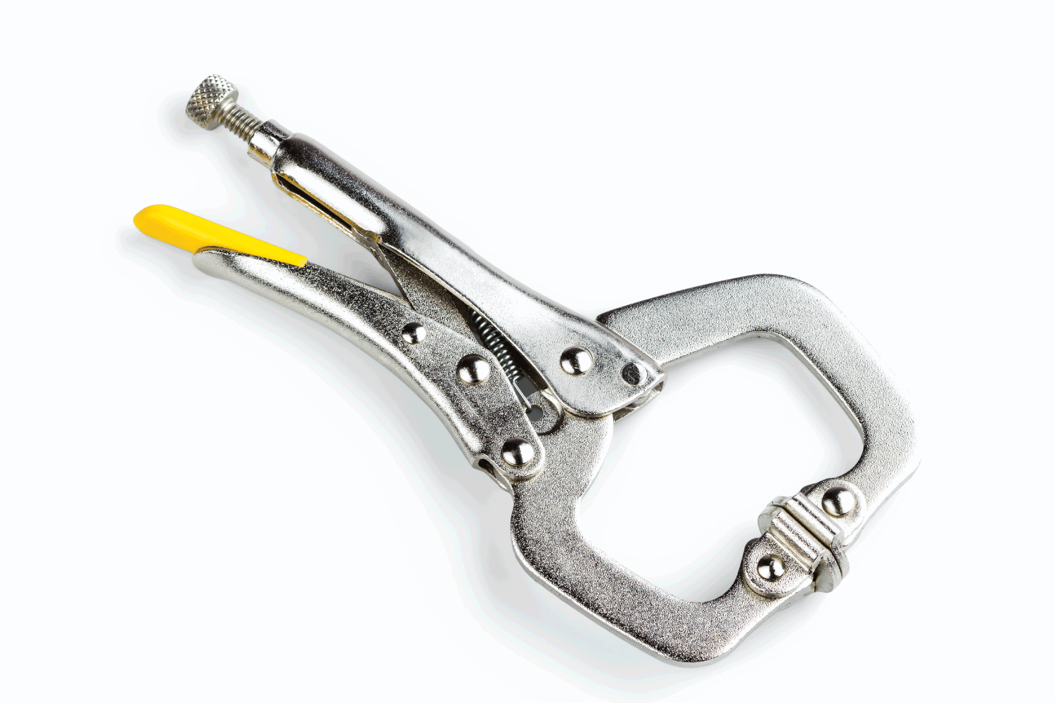 Locking C-clamp with swivel pads isolated on white background