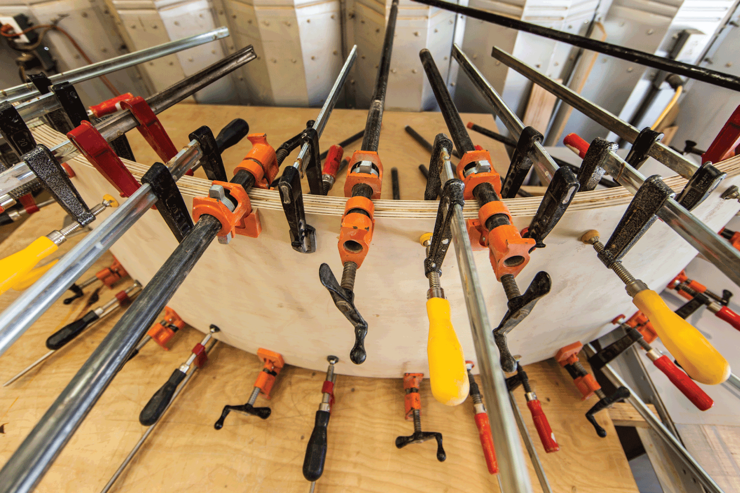assorted wood clamps used to make a mold frame