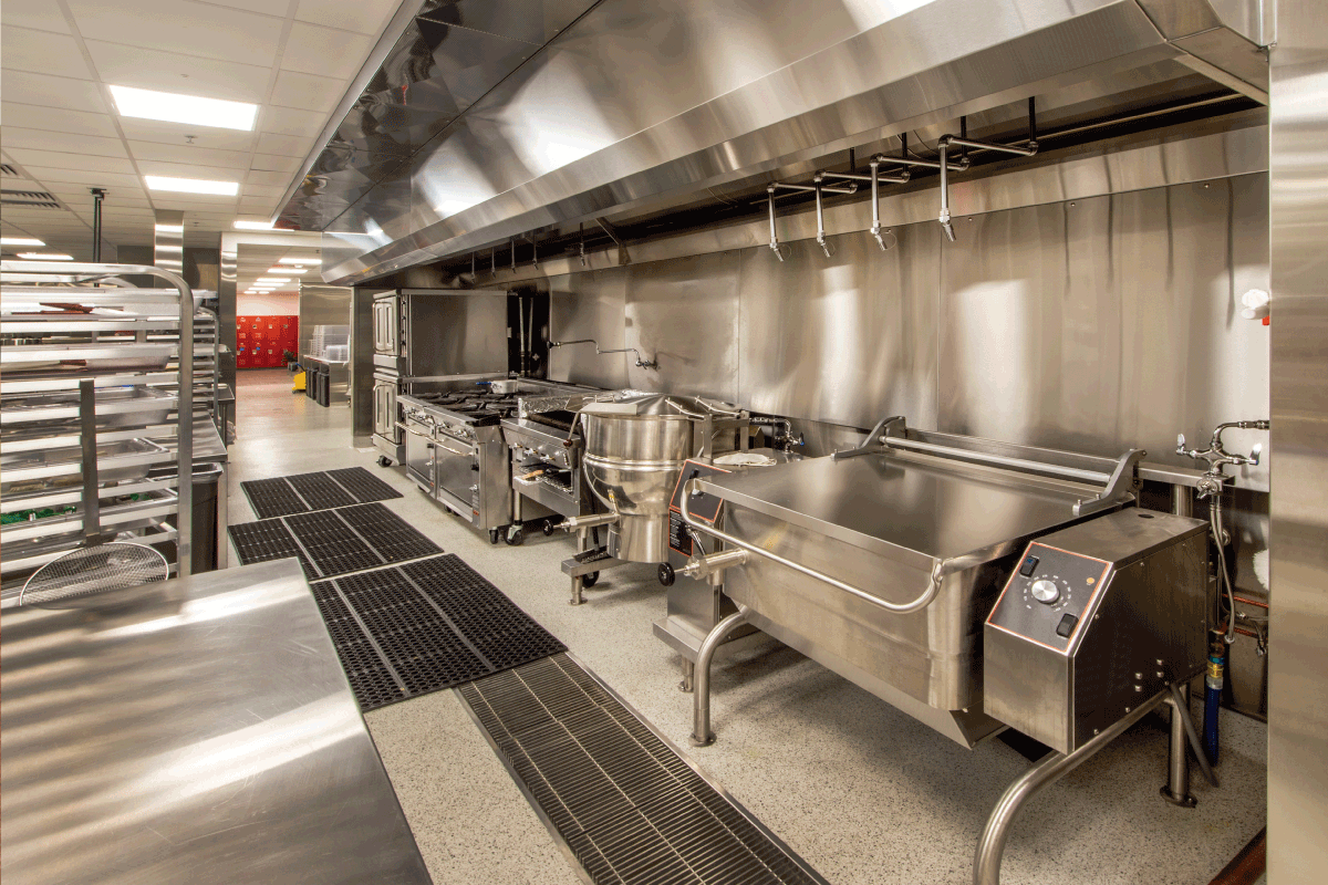 commercial kitchen with floor sink. Does A Floor Sink Need A Vent