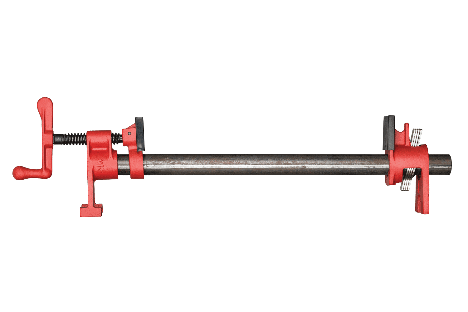 pipe clamp attached to a galvanized iron pipe in white background