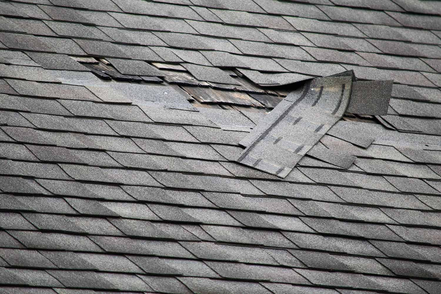 A badly damaged roof with missing shingles