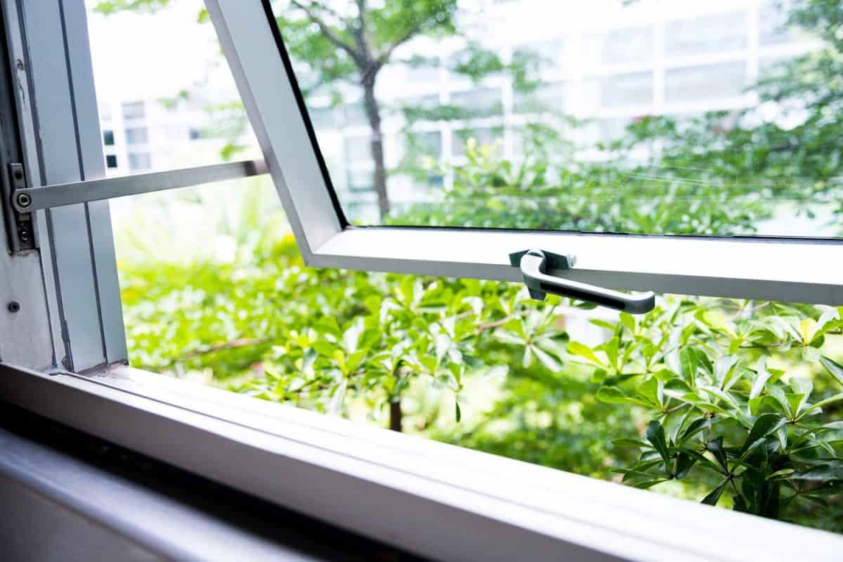 An opened window inside an office
