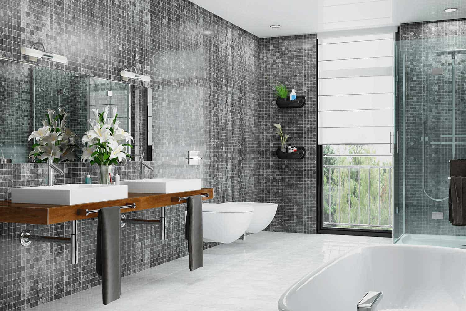 Modern bathroom with different shades of gray tile