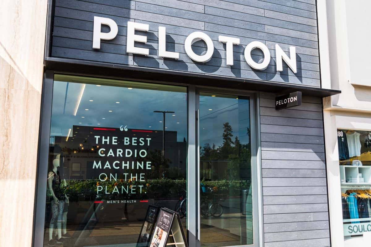 Peloton store exterior view; Peloton is an American exercise equipment and media company whose main product is a luxury stationary bicycle