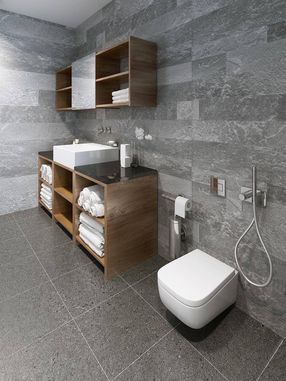 Spacious minimalist bathroom design