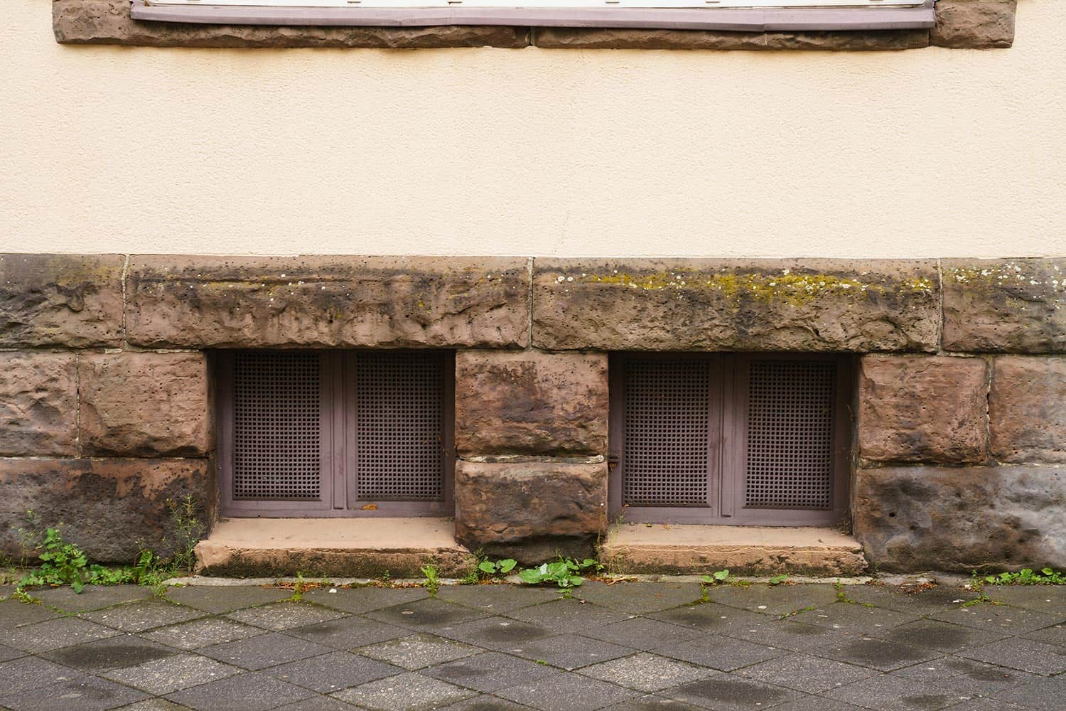 Two basement windows in a stone wall covered with metal mesh