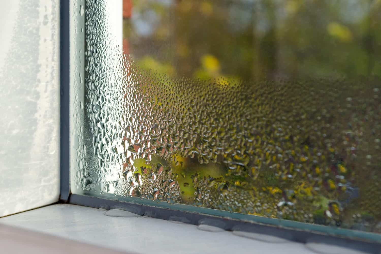 Glass window with moisture