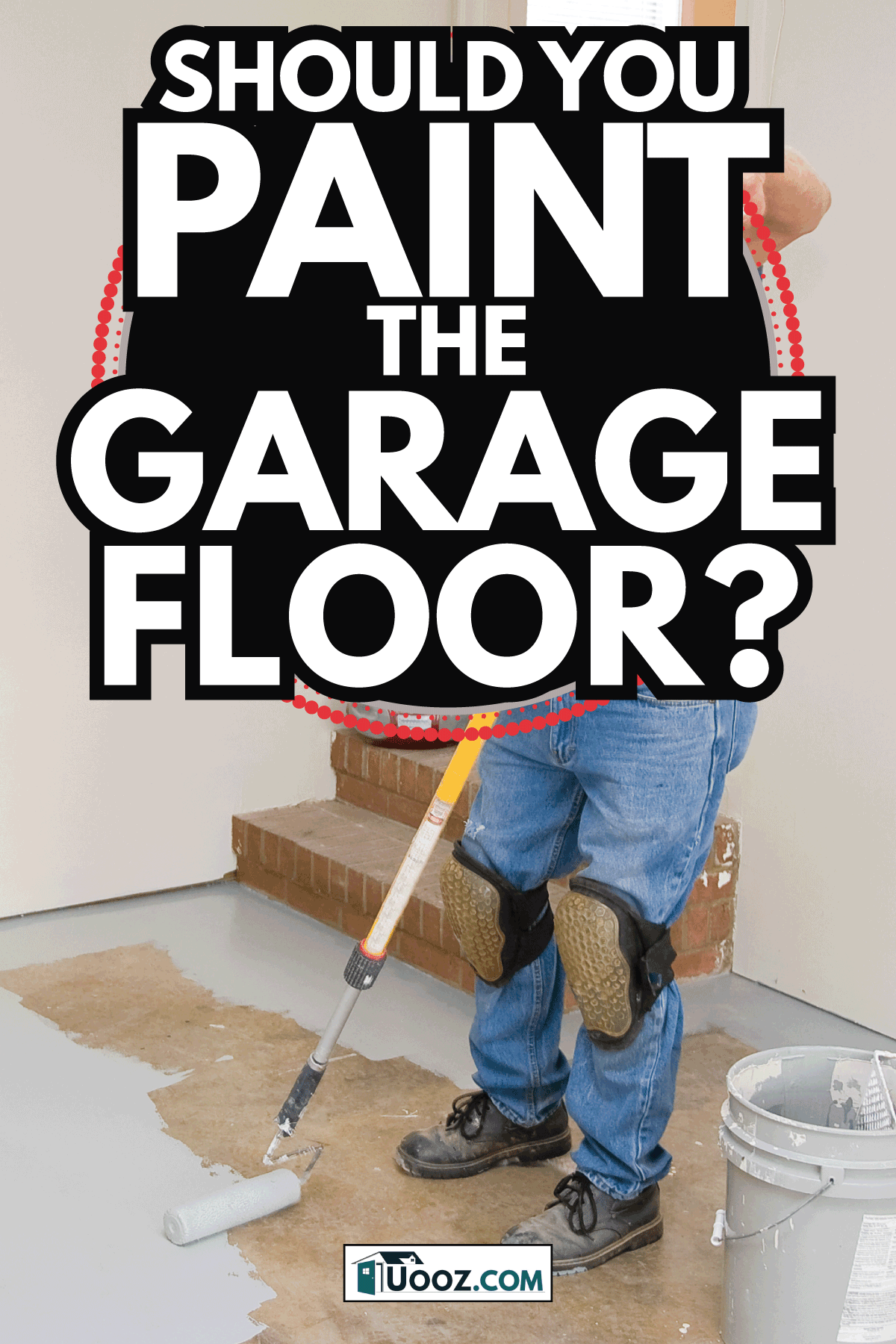 old man painting garage floor with gray paint using roller. Should You Paint The Garage Floor