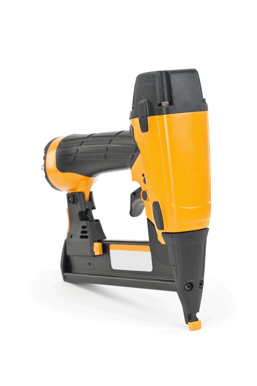 A pneumatic nail gun close-up isolated on a white background