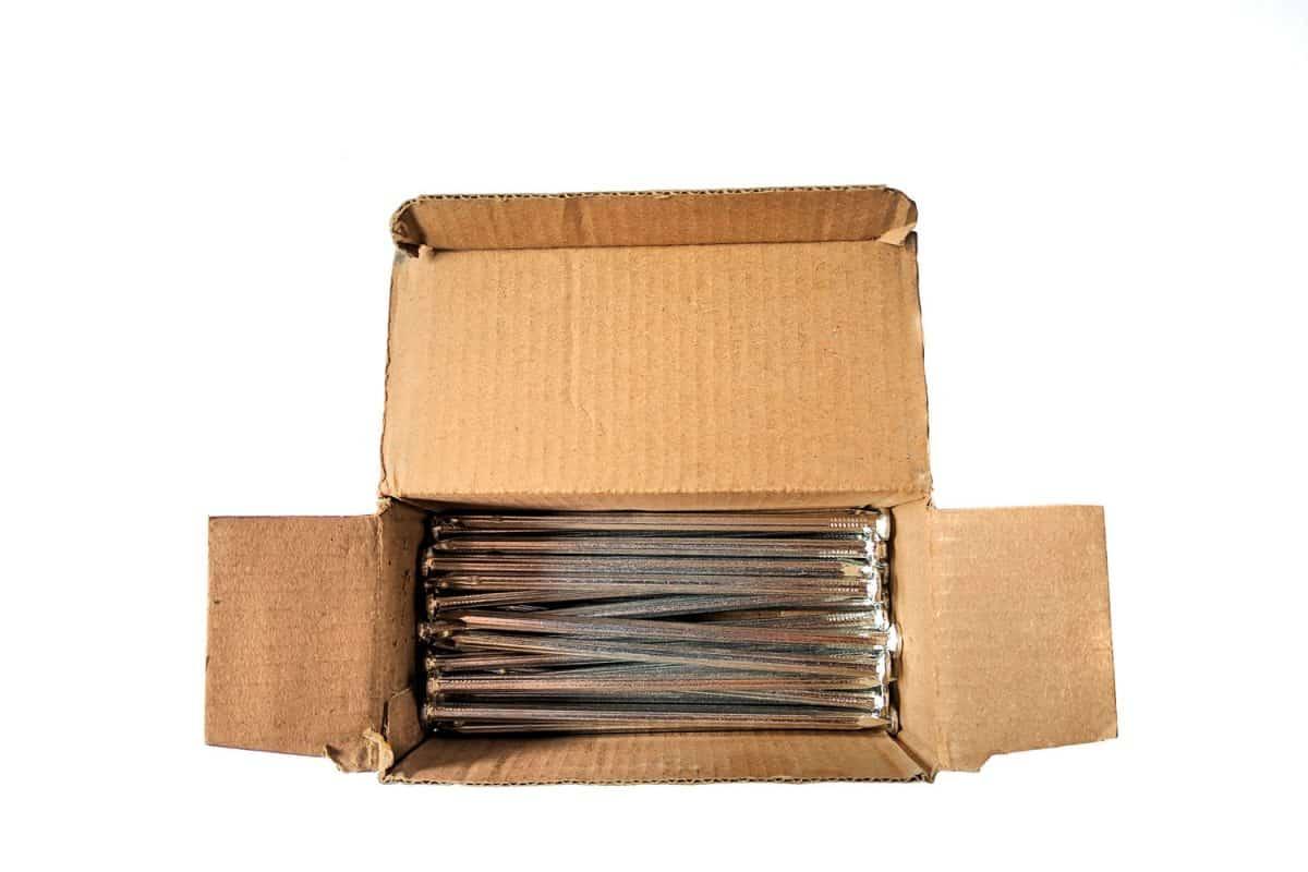 Brad nails on a small cardboard box