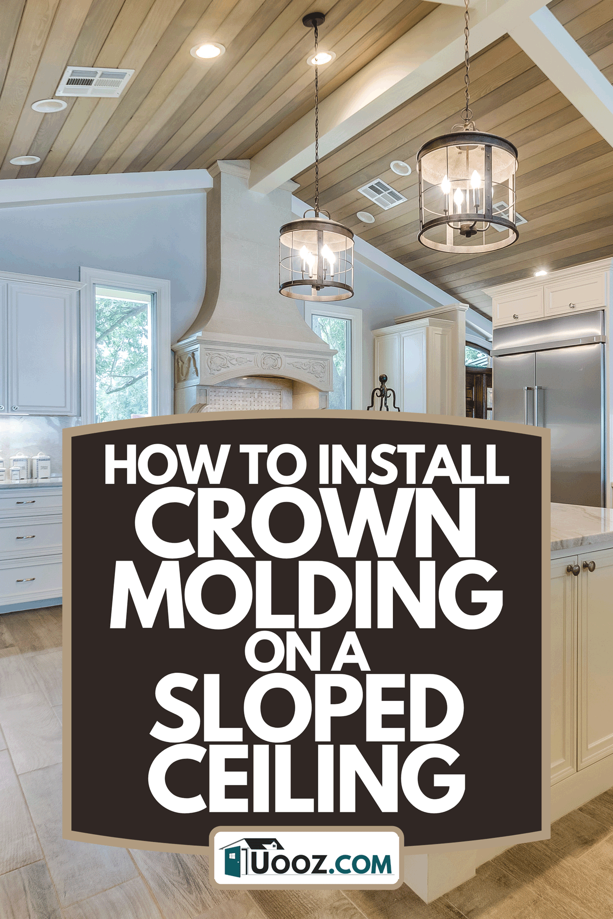 A slightly sloped wood panel ceiling in kitchen, How To Install Crown Molding On A Sloped Ceiling