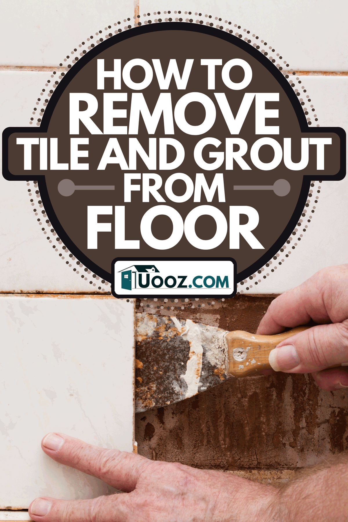 A man using a scraper to remove old bathroom shower tiles, How To Remove Tile And Grout From Floor