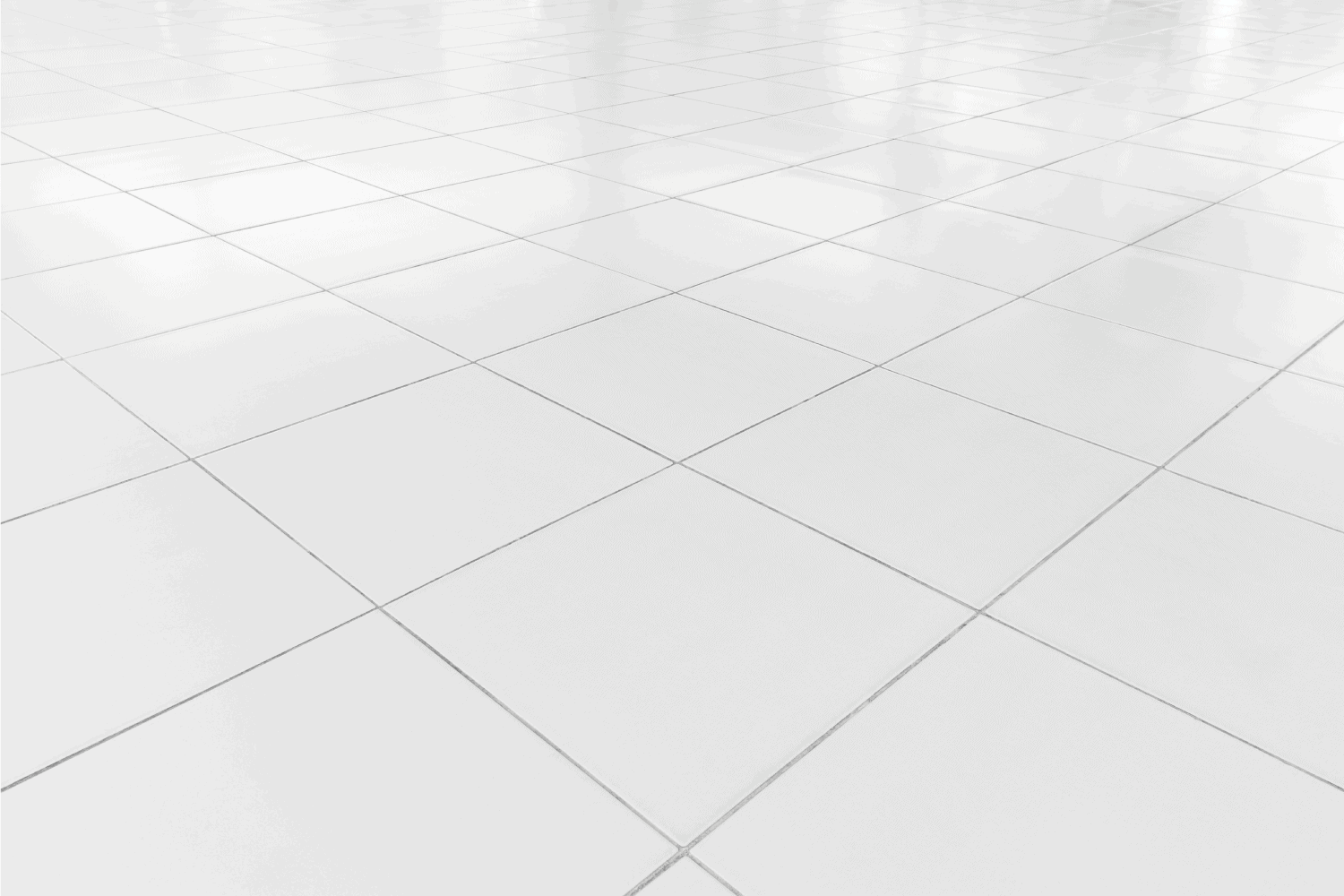 White tile floor clean condition with grid line