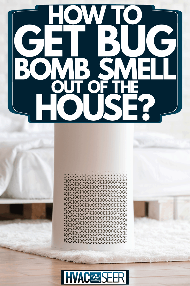 An air purifier inside a minimalist bohemian inspired bedroom, How To Get Bug Bomb Smell Out Of The House