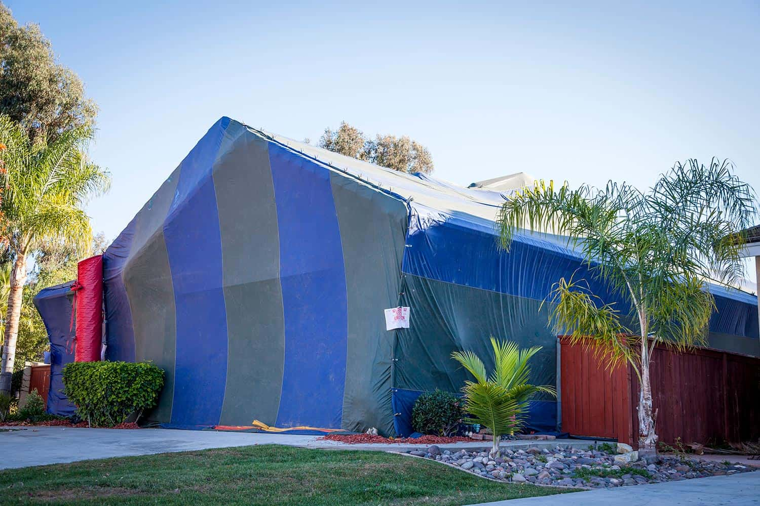 Termite tent covering home